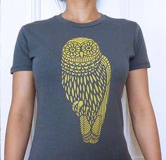 Yellow Owl on Gray TShirt by AnLiStudio on Etsy, $24.00
