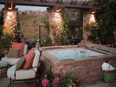 beautiful hot tub on backyard patio