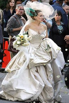 """Sarah Jessica Parker as Carrie Bradshaw in the 2009 movie """"Sex and the City"""" in a dress by designer Vivienne Westwood."""