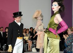 Designer John Galliano greets the audience at the Christian Dior Haute-Couture show as part of the Paris Fashion Week Spring/Summer 2010 at Boutique Dior on January 25, 2010 in Paris, France.