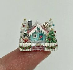OOAK Miniature Dollhouse Christmas Cottage Putz House Holly