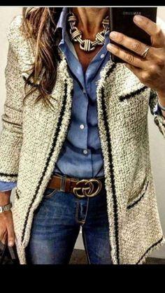 NEU Damen Cardigan doppelreihig Junge Friend Tasche offen Pullover Oberteil