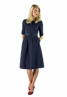 """Madeline"" Modest Dress in India Ink - Even though I'm not Mormon, I LOVE this designer! Modest clothing is so classy and understated. I love it."