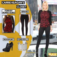 Top: Torn By Ronny Kobo Red Marina Animal Jacquard - $276 Similar Bracelet: Forever 21 Studded Cuff - $8.80 Pant: 811 Mid-Rise Skinny Leg - $176 Similar boot: Rockport Women's Janae Monk Strap Ankle Boot - $160 Chelsea Lately, Skinny Legs, J Brand, Get The Look, Carry On, Cool Style, Capri Pants, Forever 21, Girly