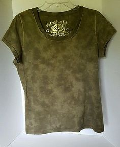 Womens Rebel Olive Green Washed Out Golden Detail Tshirt Large 100% cotton