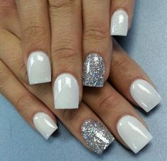 White Nails with silver sparkle♥