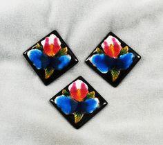 Vintage enamel floral on copper squares from Estatebeads.com