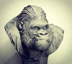 @radziewiczsculptor Gorilla/Plasticine #photoshop #airbrush #vintage #handmade #sculpture #animals #art #artwork #gorilla #kingkong #people #handmade #movies #bust #head #zbrush #amaizing #texture #detail