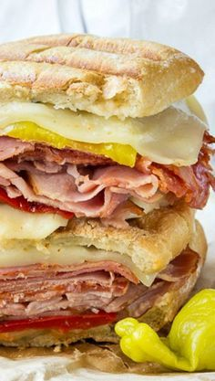 A deliciously toasted sandwich filled with warm meats and gooey cheese.