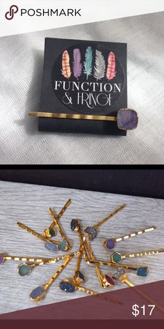Gold Druzy Bobby - Purple Perfect boho hair accessory from Function & Fringe!  Gold plated bobby with a druzy stone can be just that finishing touch for your boho look. You will receive the one pictured in the first photo.  Price is firm unless bundled.   Function & Fringe Accessories Hair Accessories