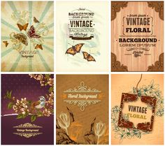 Set of 6 vector vintage floral backgrounds 2013, decorated with flowers, butterflies and floral curves for your wedding invitation cards, brochures, etc.
