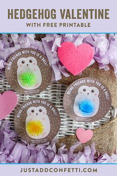 Being friends with you is a ball!! This Hedgehog Kids Valentine is so sweet! To make it even sweeter — it's a FREE printable and very easy to assemble! Just download the free printable and add any small toy ball you would like! Mini Koosh balls and small