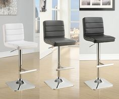 2 White Black Grey Adjustable Leatherette Upholstered Game Room Bar Pub Stools #CoasterFineFurniture #Contemporary