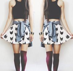 Shop The Look Skater Skirt Mode Hipster, Hipster Fashion, Grunge Fashion, Teen Fashion, Fashion Outfits, Womens Fashion, Hipster Dress, Hipster Style, Fashion Black