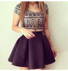 Cute top mini skirt combo