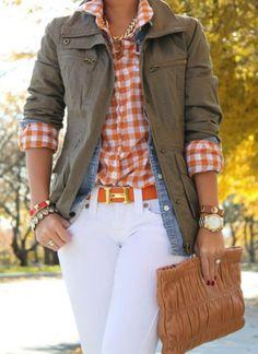 Great layering and sooo cute white pants!