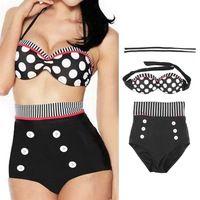 1set 2015 más lindo retro del traje de baño de mujeres de la manera , traje de baño del vintage Pin Dots Stripes ropa de playa acolchada Push Up cintura alta Bikini Set