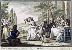 Eighteenth-century social dance. Translated caption: A cheerful dance awakens love and feeds hope with lively joy, (Florence, 1790). en.wikipedia.org