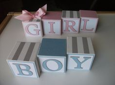 Items similar to Wooden Name Blocks - Baby Name Block Set - Gender Reveal Party - Twins on Etsy Twin Babies, Twins, Baby Shower Themes, Shower Ideas, Baby Name Blocks, Multiple Births, Gender Party, Wooden Names, Birth Announcements