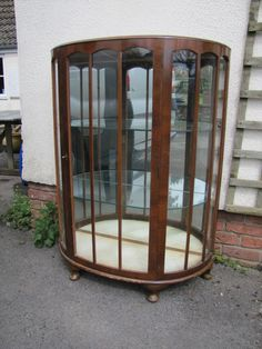 Antique Walnut Bow Front China Cabinet 1930's/40's Display Cabinet Mirror Back