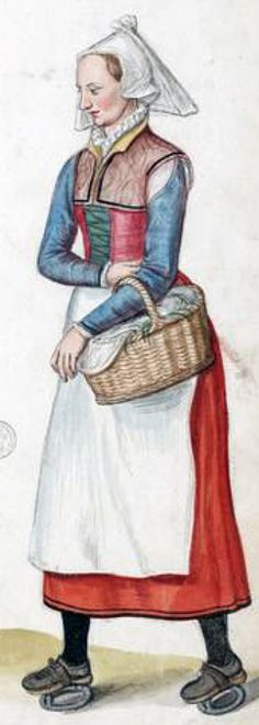 French countrywoman by Lucas de Heere, late 16th c. showing an early example of iron ring pattens.