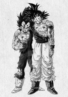 A Battle Worn Goku and Vegeta Dragon Ball Gt, Dragonball Goku, Goku E Vegeta, Son Goku, Wizyakuza Anime, Manga Dbz, Majin Boo, Anime Art, Cartoons