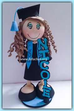 Celebrate your graduate's special day with these Custom Graduate Fofucha Dolls. Can make a lovely and unique gift, decor, centerpiece or even a keepsake gift.Foam doll are handmade from foamy material and hand painted, Doll comes with base included. Measures approx. 11-12″ height  I hand customize my orders, So you can specify some Physical Features such as:  * Hair Color*  * Eyes Color* Curly or Straight*Skin color  *Gown color  Any questions feel free to message  #graduationparty…