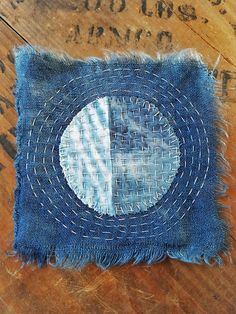 Japanese Boro Sashiko Slow Stitch mending patch Natural Indigo
