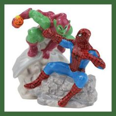 Marvel Gift Ideas The Amazing Spiderman: Westland Giftware Spider-Man Vs Green Goblin Salt and Pepper Shakers Wonderful gift idea for fans. Made of ceramic and painted in bright colors. http://theceramicchefknives.com/marvel-gift-ideas-amazing-spiderman/ Marvel Gift Ideas The Amazing Spiderman: Westland Giftware Spider-Man Vs Green Goblin Salt and Pepper Shakers