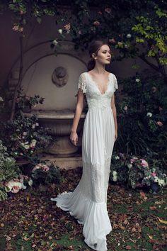 Asaf Dadush 2016 Summer Sheath Wedding Dresses for 2017 Spring Greek Goddess Bohemian Country Brides Formal Church Wear Lihi Hod Bridal Gown
