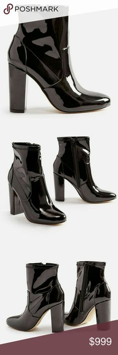 """: COMING SOON : Black Patent Bootie : COMING SOON : Black Patent Bootie  7, 7.5. 8, 9  Whether you go for shiny patent or lush velvet, one thing's for certain: with its sky-high cylinder heel, this bootie is sure to be the style standout in your wardrobe this season.  Approx. Heel Height: 3.75"""" Synthetic Upper Man Made Sole Fit: True to Size Real Haute Trends Shoes Ankle Boots & Booties"""