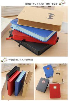 Aliexpress.com: Comprar Captain America Superman serie de papelería estudiantes portátiles ronda espalda Office & School Supplies cuadernos y blocs de portátil confiables proveedores de QinYang International Trade CO,LTD.
