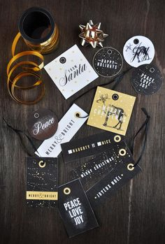 Gold, black and white Christmas gift tags from Visual Heart