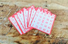 Bingo Cards - Red Bingo Cards by theindustrycottage on Etsy