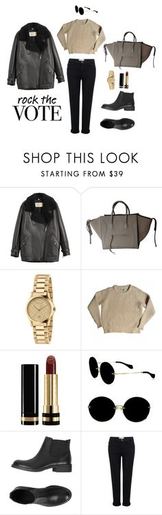 """""""rock the vote"""" by anichch ❤ liked on Polyvore featuring Burberry, Gucci, Acne Studios, Miu Miu, ESPRIT and Current/Elliott"""