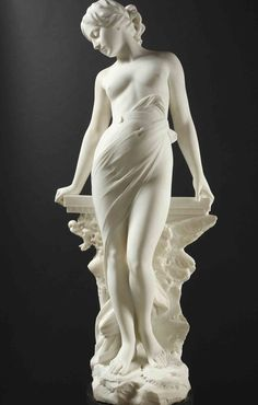 ❤ - EMILIO FIASCHI (1858-1941) -     VEILED FEMALE NUDE.           Carrara marble, signed: E.FIASCHI.  On its original green marble base.  Total height: 204 cm .