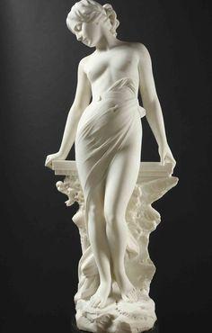 EMILIO FIASCHI (1858-1941) - VEILED FEMALE NUDE. Carrara marble, signed: E.FIASCHI. On its original green marble base. Total height: 204 cm .