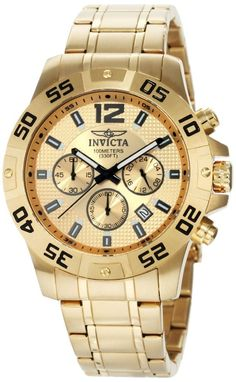 Gold watches men Invicta Invicta Men's 1503 Chronograph 18k Gold Ion-Plated Stainless-Steel Watch
