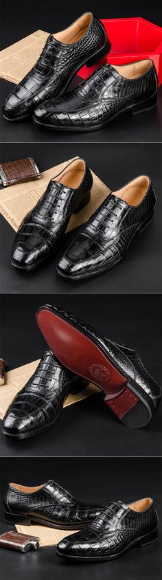Mens Business Alligator Leather Shoes