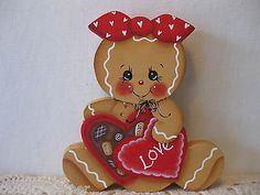 HP-Gingerbread-box-of-candy-SHELF-SITTER-hand-painted-USA