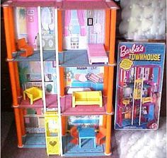 1975 Box Script Logo - Mod Barbie 3 - Story Townhouse Town House  with Blue and Pink Masonite Floors - Script Logo on Box