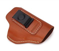 Vegetable Tanned Leather IWB Gun Holster Conceal Carry Fits For GLOCK 17 19 22 23 32 33 S&W M&P Shield Springfield XD & XDS And Other Similar Sized Handguns (Brown – Right Handed Style (IWB))