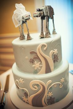 Maegan and Michael's Geeky Santa Monica Wedding - Star Wars Wedding Cake- Amanda Mckinnon Photography