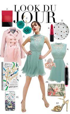 Look Du Jour: Tischmanieren. Mint green pleated dress+golden akle strap heeled sandals+blush trenchcoat+floral clutch+green pompom earrings. Spring Semiformal Dinner Party Outfit 2017