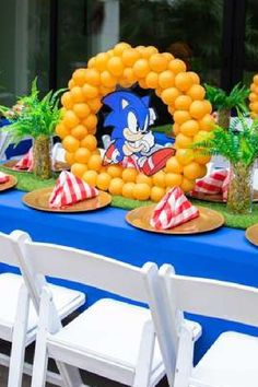 Take a look at this cool Sonic birthday party! The table settings are awesome! See more party ideas and share yours at CatchMyParty.com #catchmyparty #partyideas #sonic #sonicparty #boybirthdayparty #tablesettings