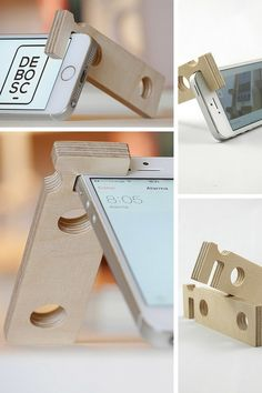 Discover recipes, home ideas, style inspiration and other ideas to try. Support Iphone, Support Smartphone, Diy Phone Stand, Wood Phone Stand, Diy Wood Projects, Woodworking Projects, Support Portable, Coque Ipad, Support Telephone