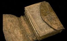 Old Icelandic Homily Book, c. 1200.  Iceland 13th century.  The spine has wound strips of skin which are a part of the stitching.  Photo: István Borbás/National Library of Sweden