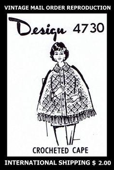 Vint 60s Design 4730 Cute CAPE / Coat CROCHET Crocheting Crocheted Pattern 12-18 #PATTERNPEDDLER4730