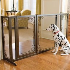 34'H Expandable Free-standing Steel Mesh Pet Gate - I bought this for our Mudroom, where our dogs stay when not allowed to roam.  Gorgeous piece; took 3 months to deliver but worth the wait.