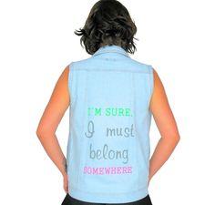 Colete jeans estampado nas costas da marca Coleteria ♡ - Coletes femininos e infantis - Coleteria   sempre♡